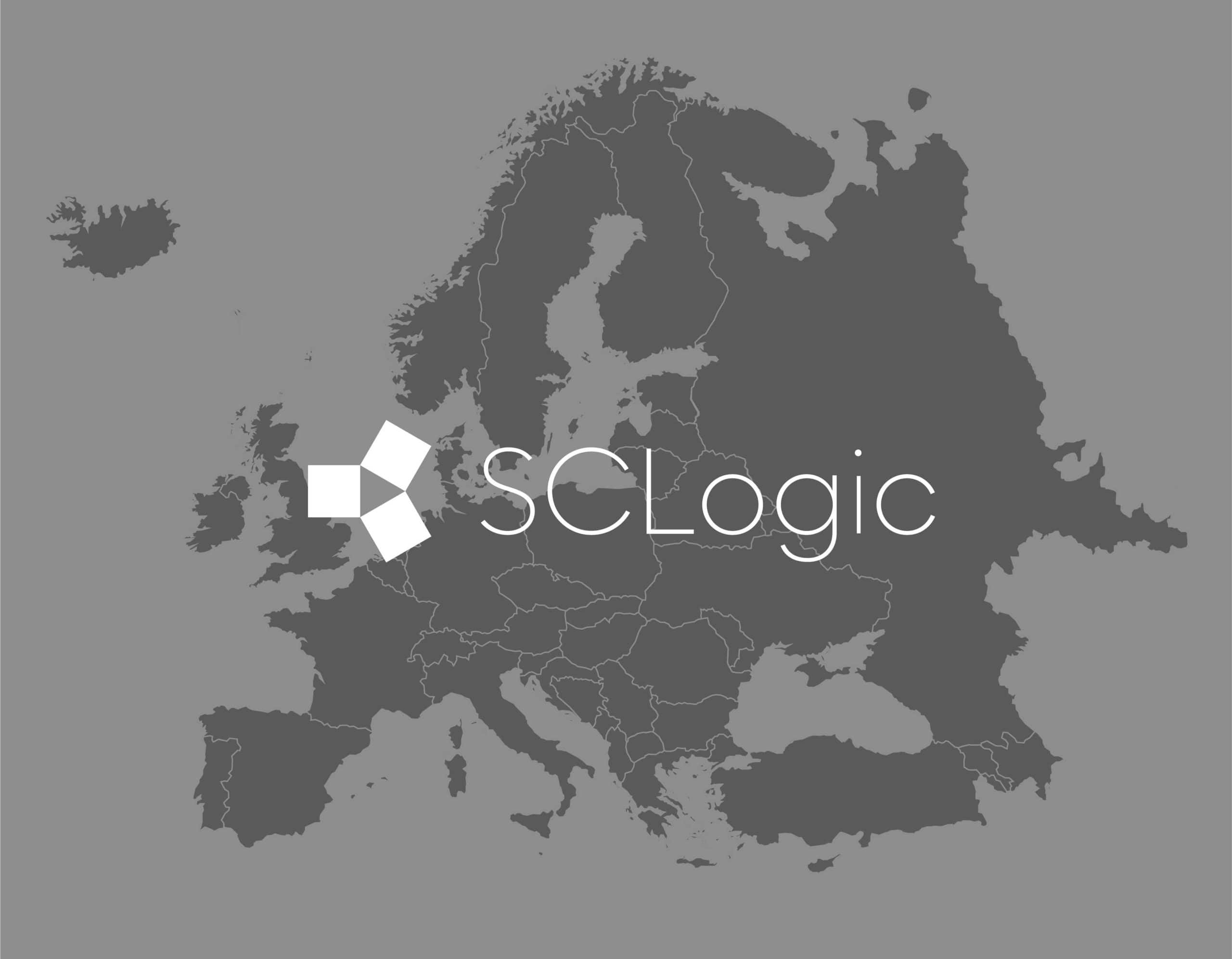Grayscale logo of SCLogic over Europe, referencing expansion to Sweden and Denmark.